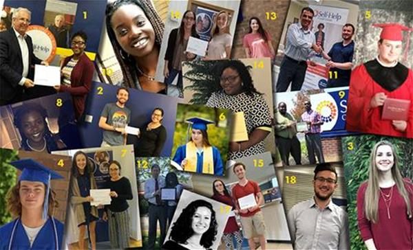 Collage of Self-Help's 2018 scholarship winners